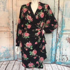 EMANUEL UNGARO Vintage Silk Floral Polka Dot Dress